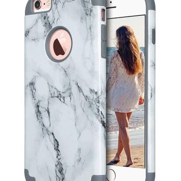 DCCKRQ5 iPhone 6S Plus Case,iPhone 6 Plus Case Marble, ULAK Slim Dual Layer Soft Silicone & Hard Back Cover Bumper Protective Shock-Absorption & Skid-proof Anti-Scratch Hybrid Case-marble pattern