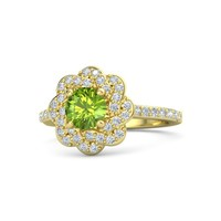 Round Peridot 18K Yellow Gold Ring with Diamond