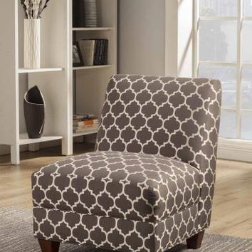 Chelsea II collection grey and white quatrefoil patterned fabric upholstered accent chair with wood legs