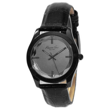 Kenneth Cole KCW2000 Women's New York Grey Dial Beveled Crystal Leather Strap Watch