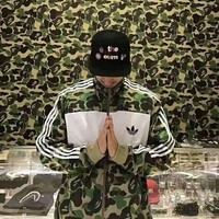 Adidas Autumn And Winter Fashion Camouflage Splicing Zipper Couple Cardigan Sweatshirt Jacket Sportswear Coat Windbreaker