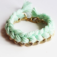 Mint Gold Textured Chain Bracelet