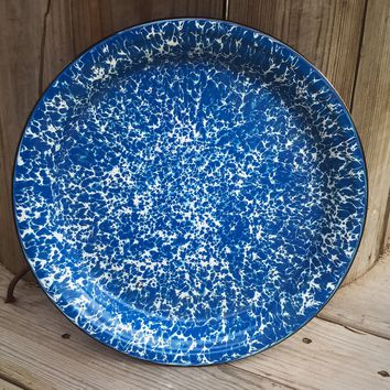 "Blue and White Distressed Enamelware 12.5"" Plate"