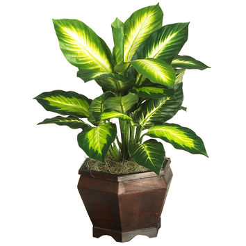 Golden Dieffenbachia w/Wood Vase Silk Plant