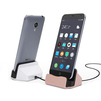 High Quality Sync Data Charging Dock Station Cellphone Desktop Docking Charger & USB Cable For Samsung S6 edge HTC Android Phone