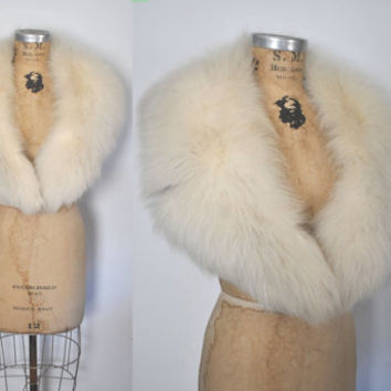 Large White Fox Fur Collar / bridal wedding