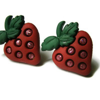 Strawberry Stud Earrings, Red with Glitter Seeds, Choice of Silver Toned or Hypoallergenic Surgical Steel Posts, Plastic