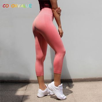 Colorvalue Tummy Control Seamless Fitness Gym Capri Pants Women High Waist Solid Workout Athletic Cropped Trousers Leggings XS-L