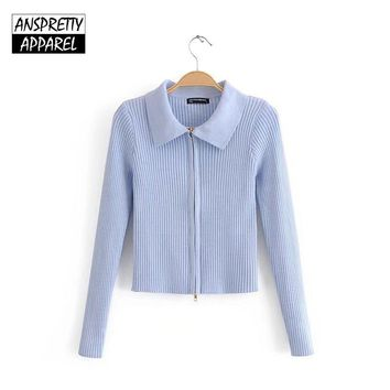 Anspretty Apparel 2018 autumn knitwear women crop sweater sexy knitted zippers cardigan stretch bodycon tops