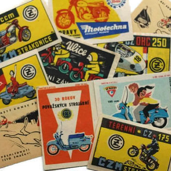 Vintage Motorcycle Scooter Matchbox Labels DeStash Lot of 10 - Altered Art, Collage, Decoupage