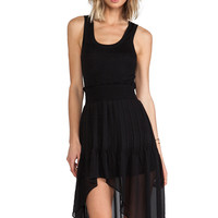 Black asymmetrical Mesh Sleeveless Mini Dress