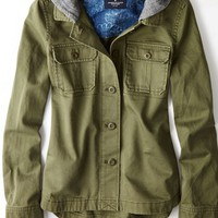 AEO 's Hooded Military Jacket (Olive)