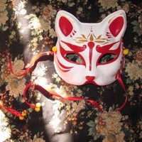 Half Face Hand-Painted Japanese Style Fox Mask Kitsune Demon Cosplay Masquerade for Party Halloween