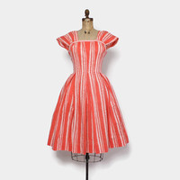 Vintage 50s Floral Print DRESS / 1950s Pat Premo Coral Cotton Full Skirt Sun Dress