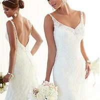 Buy discount Alluring Tulle Sheath V-neck Neckline Natural Waistline Wedding Dress at Dressilyme.com