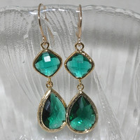 Dangle earrings in Gold-  emerald green glass, 14K gold filled ear wires