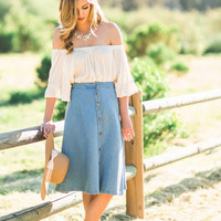 Trina Cream Off the Shoulder Ruffle Sleeve Top
