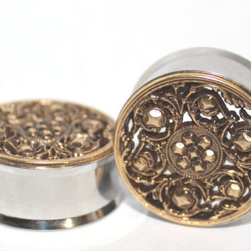 "Gold Tribal Style Plugs 7/8"" 1""  22mm 25mm"