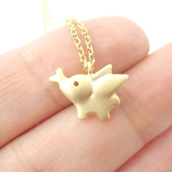 Flying Baby Elephant Shaped Pendant Necklace in Gold | Animal Jewelry