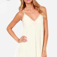 LULUS Exclusive Noir or Never Ivory Lace Dress