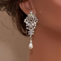 ARIANA - Rhinestone and Swarovski Pearl Bridal Earrings