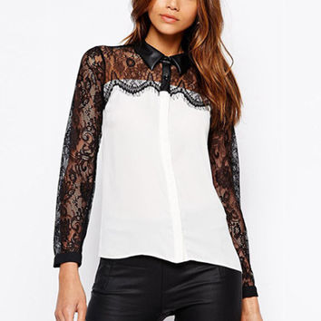 Sexy Lace Splicing Long Sleeve Blouse