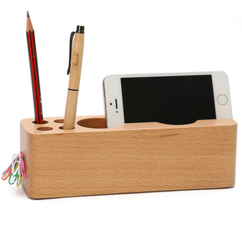 Wooden Multi-Functional Pen Container Mobile Holder Sundries Storage Box Creative Wood Desk Organizer Display Decor Gift