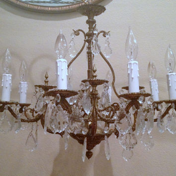 Vintage Brass and Crystal Chandelier by FoundinFrance on Etsy