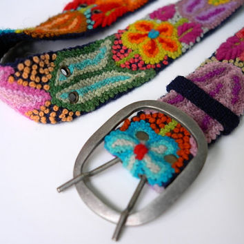 Embroidered Belt, floral belts, belts peruvian, colorful belts, belts with flowers, handmade belt