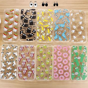 Soft TPU 3D Cute Cartoon Eyes Move Cat French Fries Banana Popcorn Phone Case For Samsung Galaxy S7 Edge S6 Note 5 A5 A7 Cover