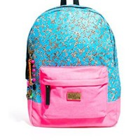 Paul's Boutique Libby Blue Canvas Leopard Backpack at asos.com