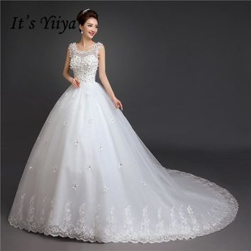 It's Yiiya 2017 New Real Photo Flowers O-neck Sweep Brush Train Bride Gowns White Lace Trailing Plus Size Wedding Dress TH58
