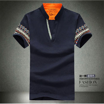 The new men's fashion brand cotton polo unlined upper garment printing 2017 male shirt casual shirts with short sleeves in summe