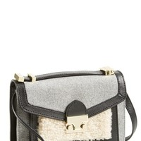 Loeffler Randall 'Mini Rider' Wool & Genuine Shearling Crossbody Bag