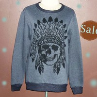 Cute workout shirt — Indian skull sweater grey Native sweatshirt pullover sweaters jumper shirt size S M L