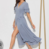 Solid Layered Sleeve Wrap Knotted Dress