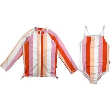 "Girl One-Piece Swimsuit and Long Sleeve Rash Guard Set UPF 50+ | ""Peachy Stripes"""