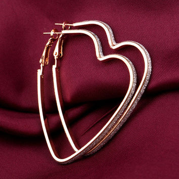 Stylish Korean Heart Matte Earrings [10232197447]
