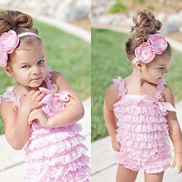 Infant Baby Girls' Lace Tiered Ruffle Petticoat Vintage Style Romper