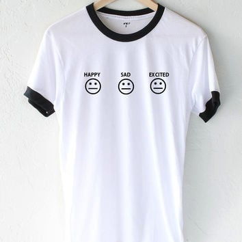 Happy Sad Excited Smiley Ringer Tee