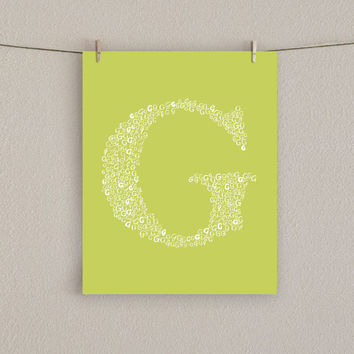 Nursery Art Print - Monogram Initial - Choose Your Color, 8x10