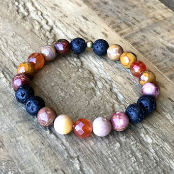 Connection' Sacral Chakra Aromatherapy Lava Rock and Gemstones Diffuser Bracelet