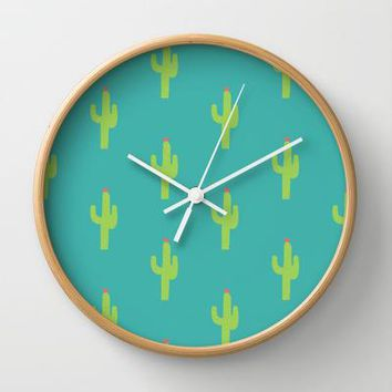 Valentine Homegrown Love Cactus Pattern Wall Clock By Two If By Sea Studios