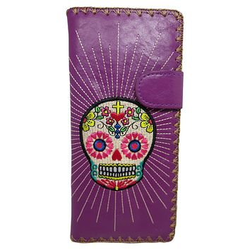 Mexican Sugar Skull Day of the Dead Embroidered Large Wallet