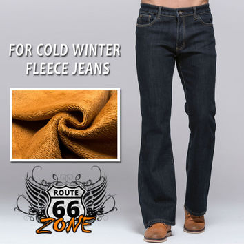 Mens Winter Stretch Denim Jeans Pants with Warm Fleece Lining - Great for Cold Weather Riding
