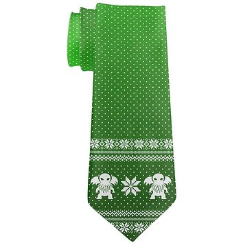 Ugly Christmas Sweater Cthulhu All Over Neck Tie
