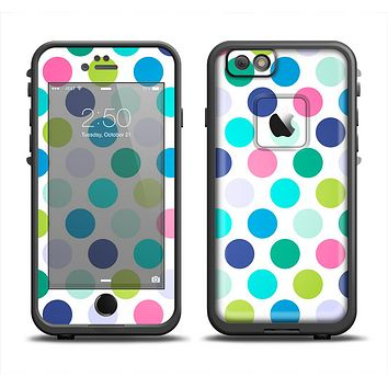 The Vibrant Colored Polka Dot V1 Apple iPhone 6 LifeProof Fre Case Skin Set