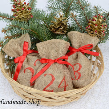 Christmas Advent Calendar, Christmas Decor, Advent Bags, Christmas countdown