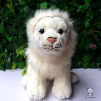 White Lion Stuffed Animal Plush Toy 10""