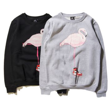 Tide brand SUPREME flamingo wear trapeze 23 long - sleeved round collar plus cashmere sweater men and women couples models